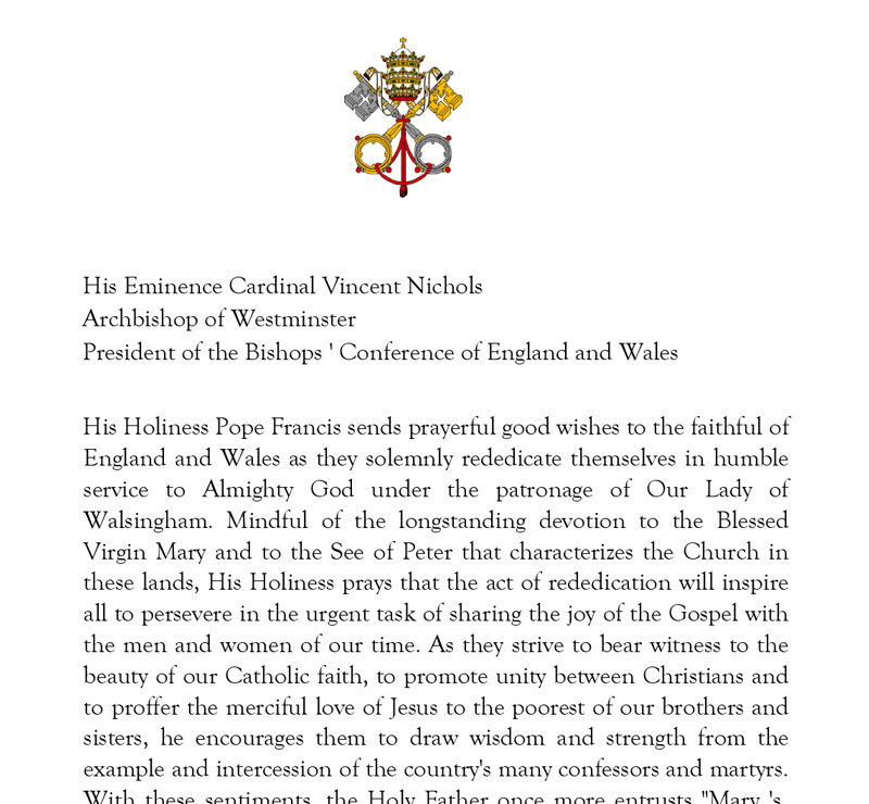 Pope Francis' Rededication Letter to Cardinal Vincent Nichols